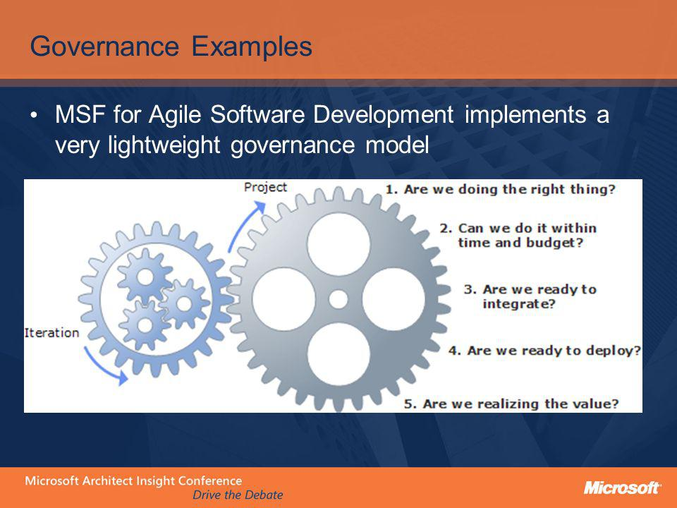 Governance Examples MSF for Agile Software Development implements a very lightweight governance model.