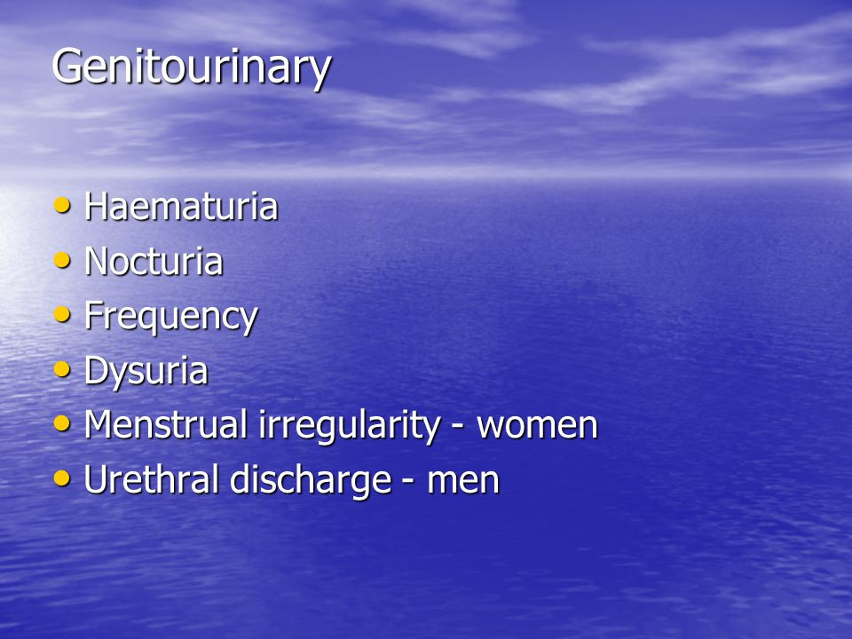 Genitourinary Haematuria Nocturia Frequency Dysuria