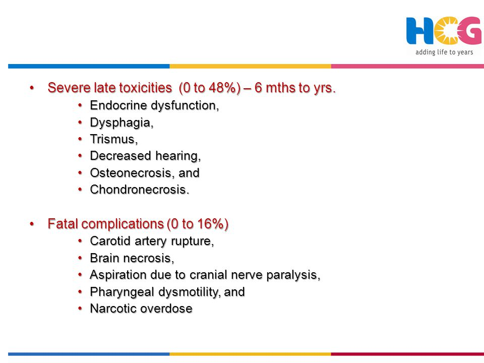 Severe late toxicities (0 to 48%) – 6 mths to yrs.