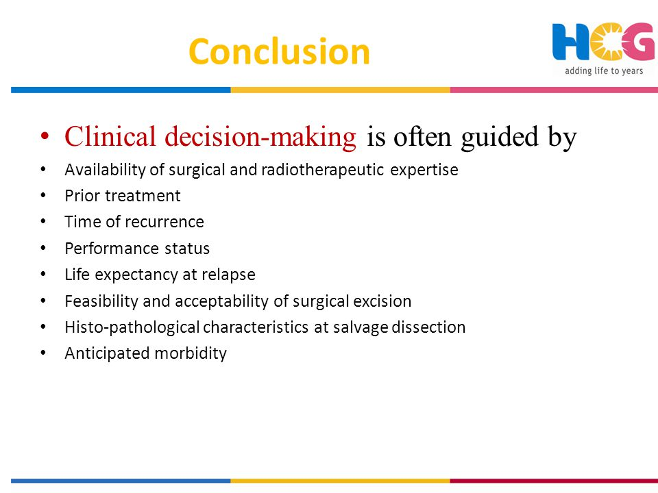 Conclusion Clinical decision-making is often guided by