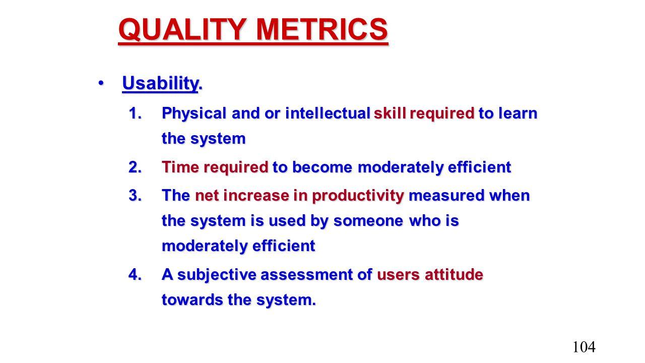 QUALITY METRICS Usability.