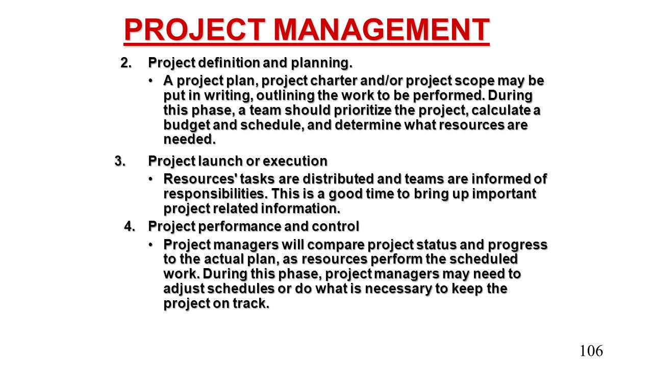 PROJECT MANAGEMENT 2. Project definition and planning.