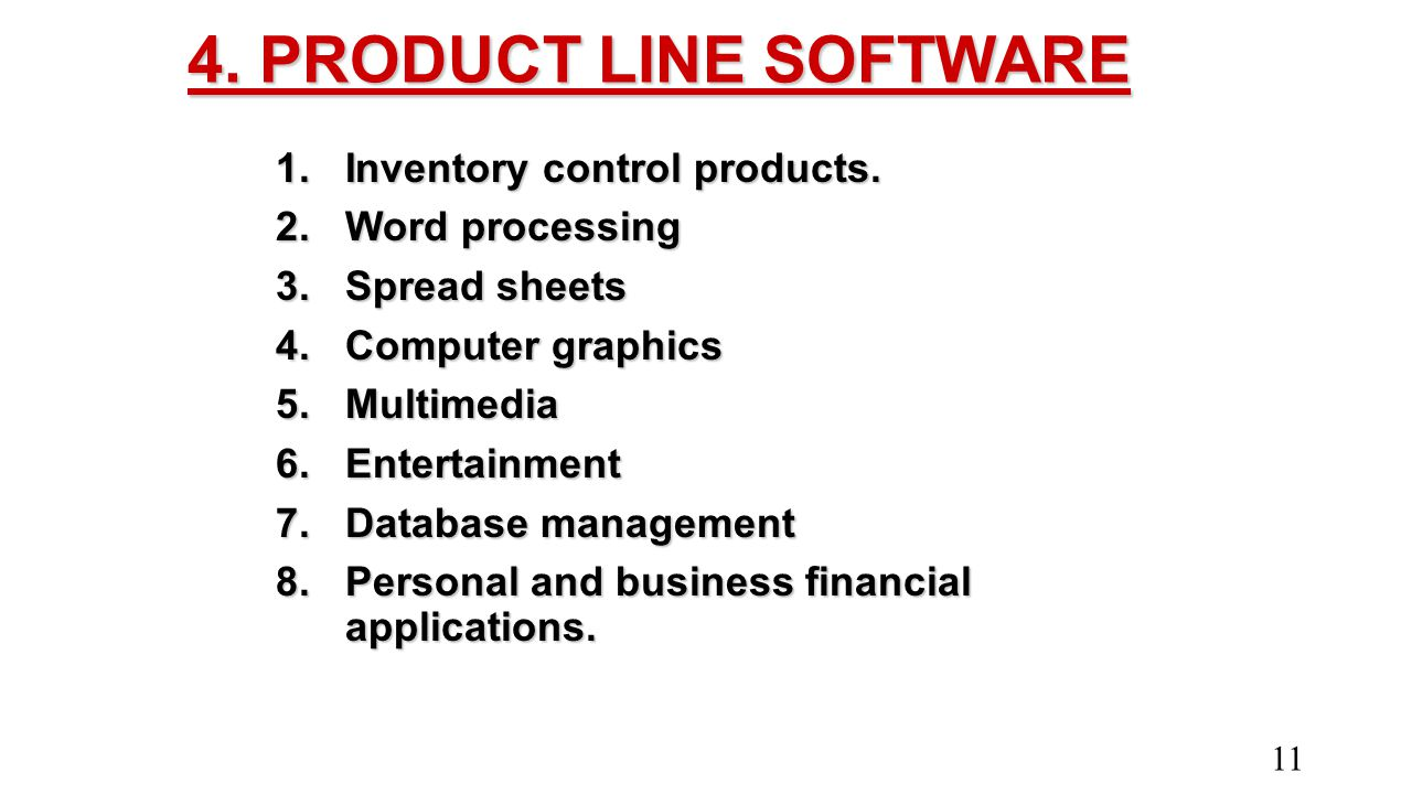 4. PRODUCT LINE SOFTWARE Inventory control products. Word processing