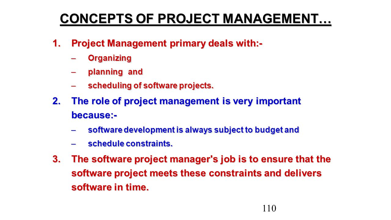 CONCEPTS OF PROJECT MANAGEMENT…