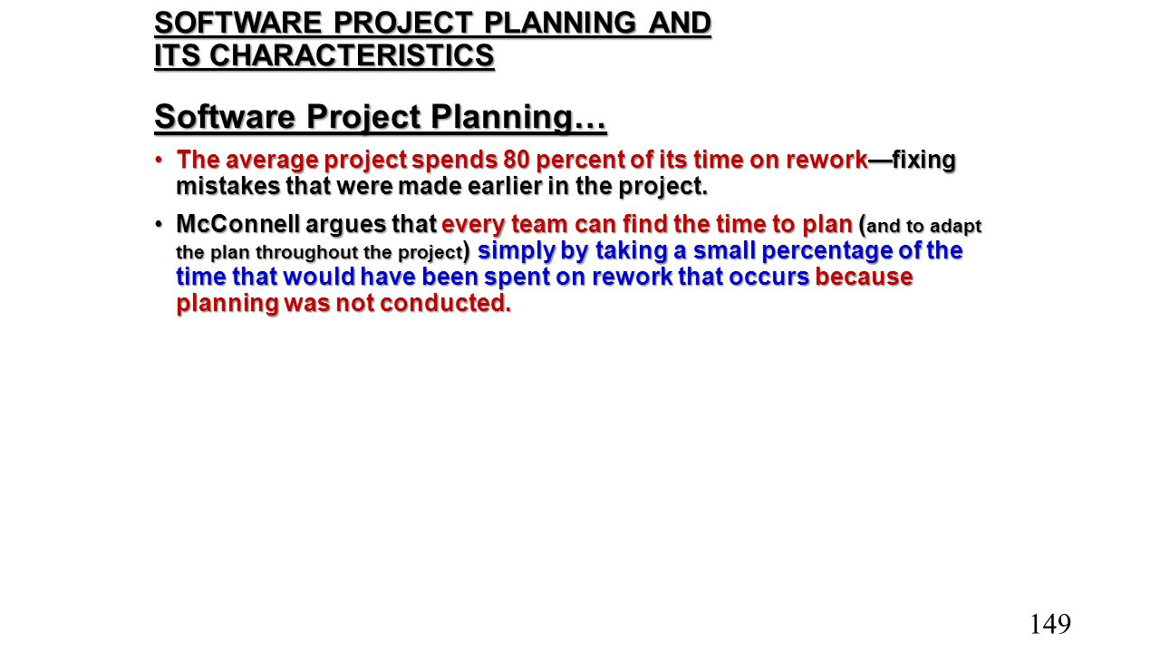 SOFTWARE PROJECT PLANNING AND ITS CHARACTERISTICS