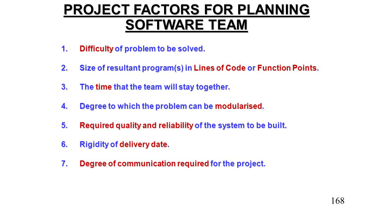 PROJECT FACTORS FOR PLANNING SOFTWARE TEAM
