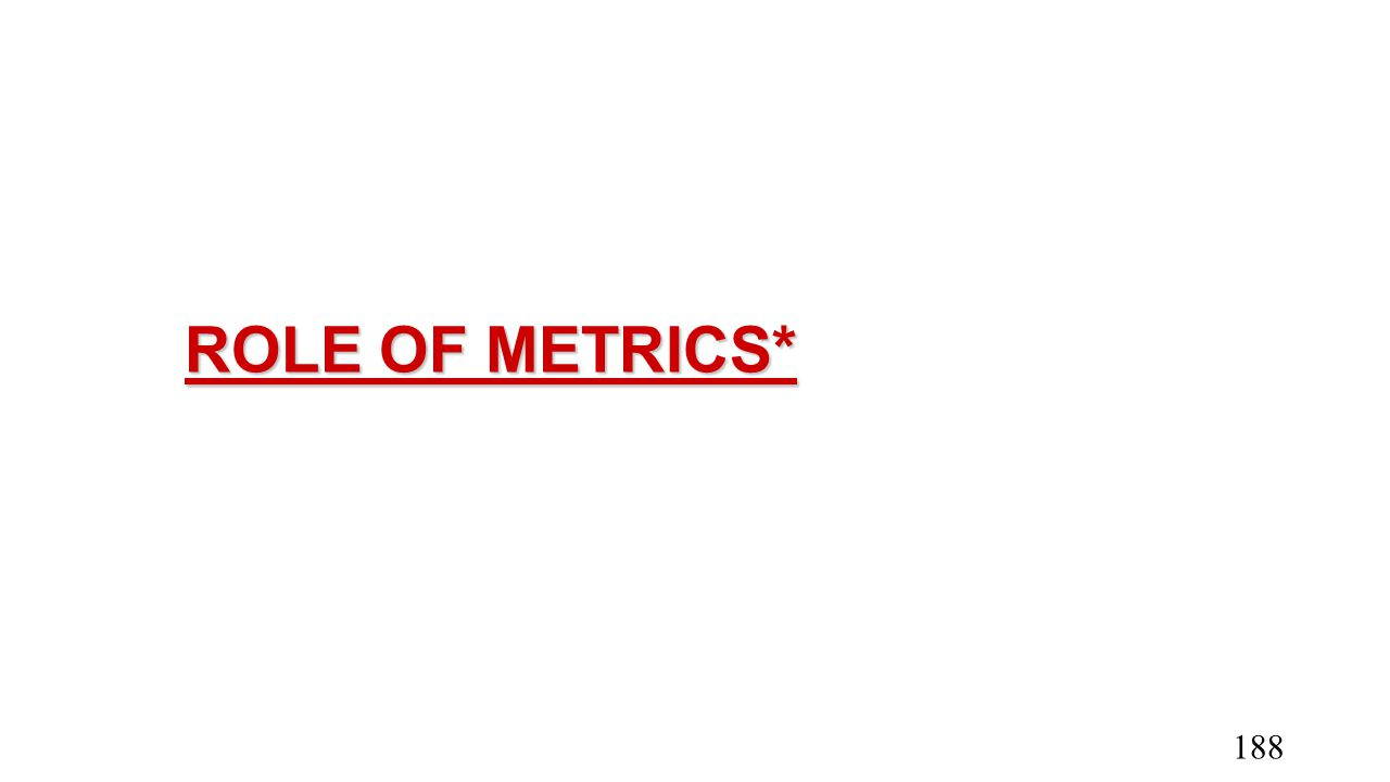 ROLE OF METRICS*