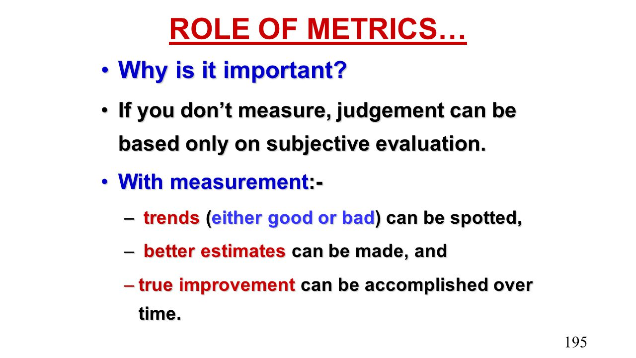 ROLE OF METRICS… Why is it important