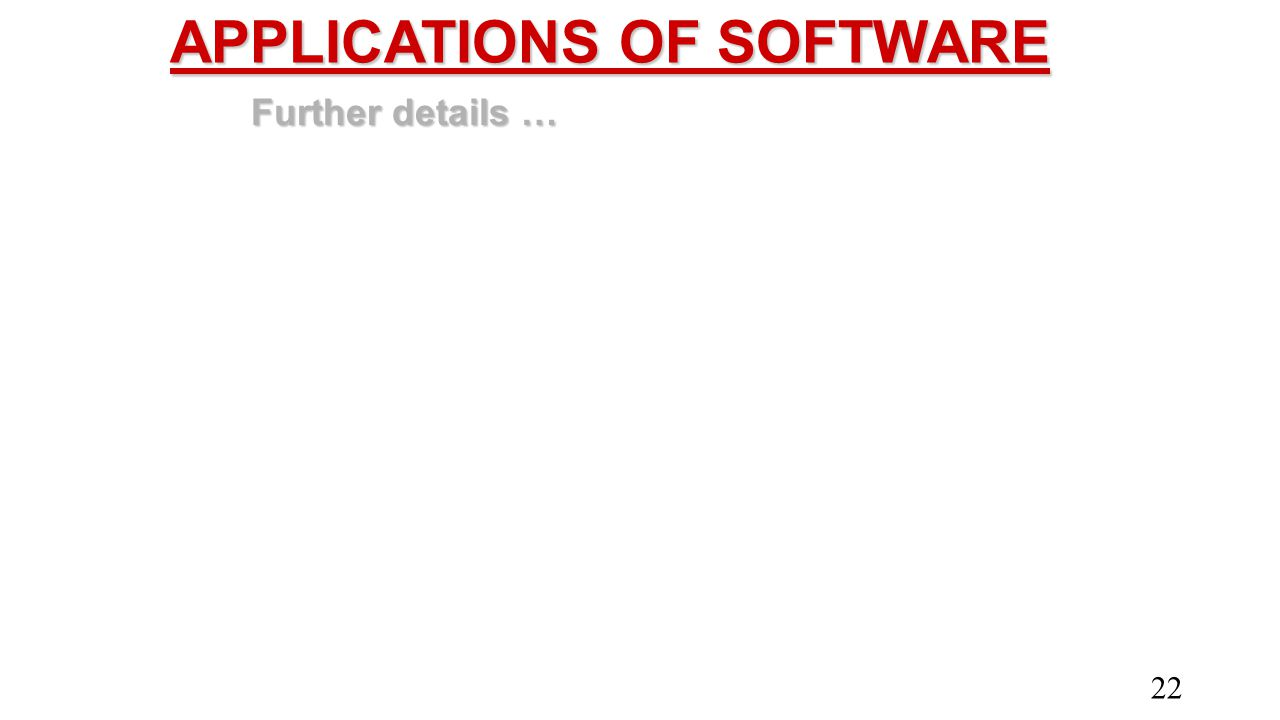 APPLICATIONS OF SOFTWARE