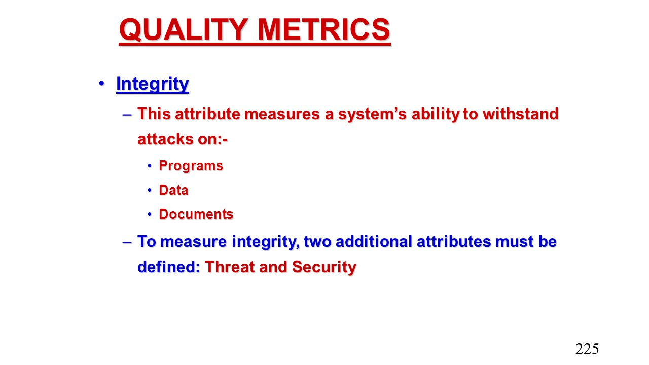 QUALITY METRICS Integrity