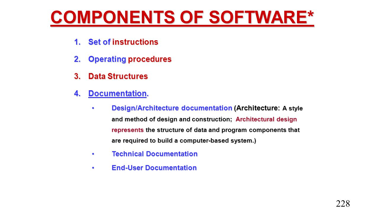COMPONENTS OF SOFTWARE*