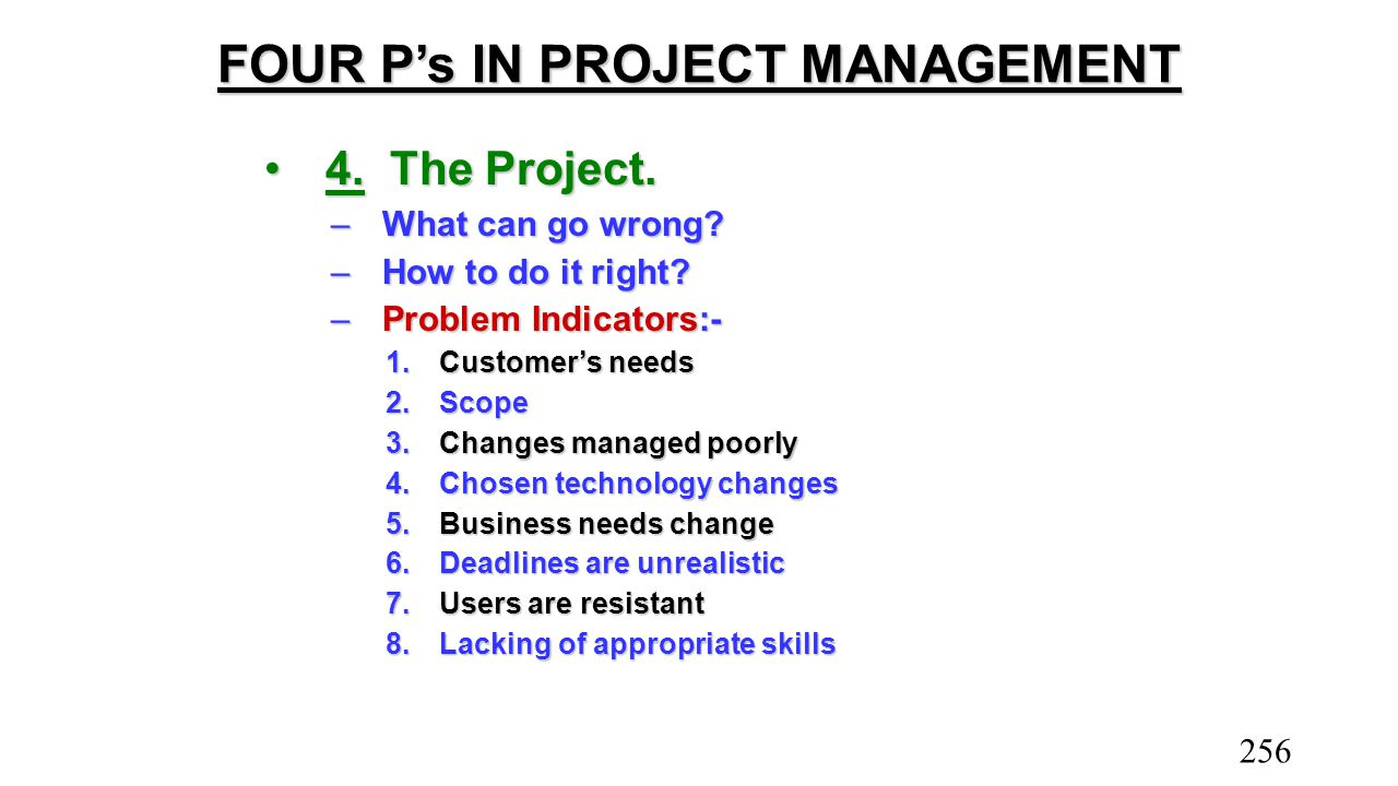 FOUR P's IN PROJECT MANAGEMENT