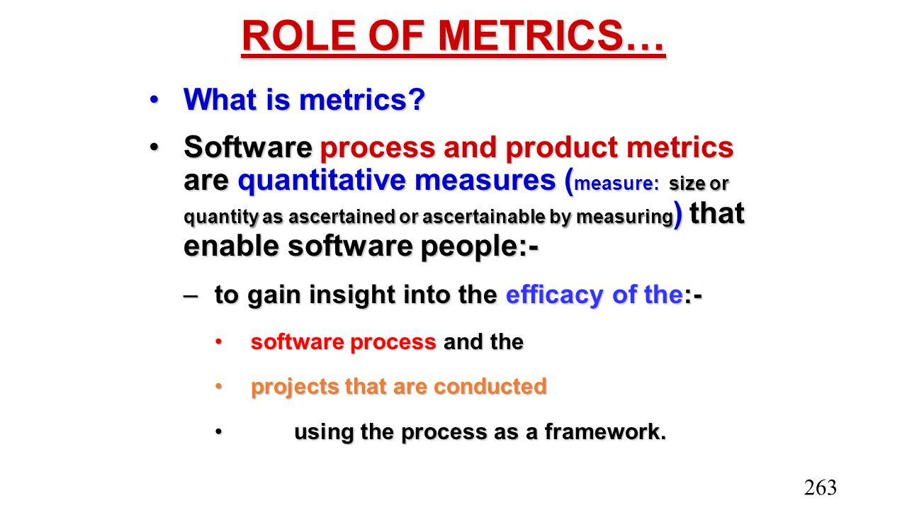 ROLE OF METRICS… What is metrics