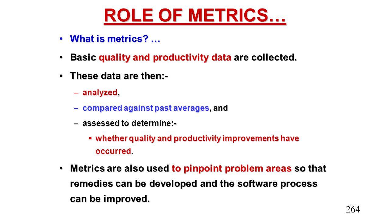 ROLE OF METRICS… What is metrics …