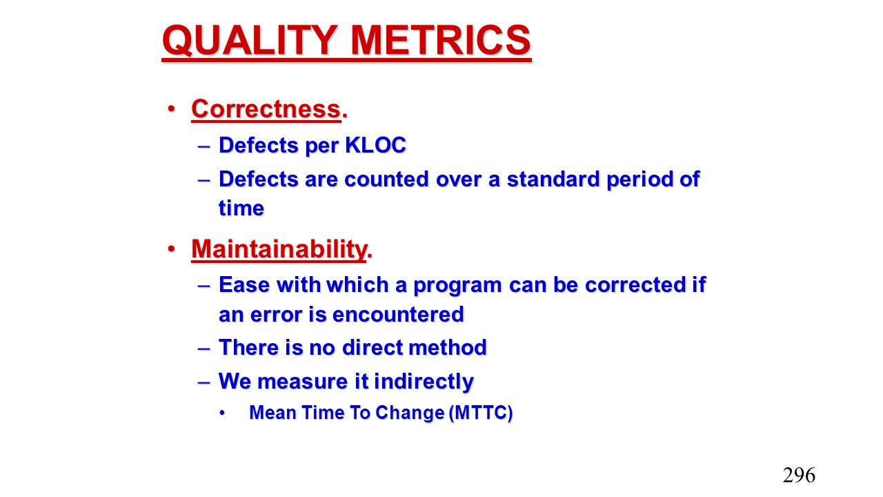 QUALITY METRICS Correctness. Maintainability. Defects per KLOC