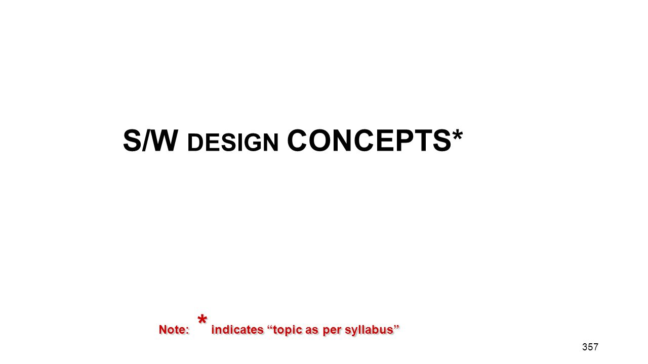 S/W DESIGN CONCEPTS* Note: * indicates topic as per syllabus