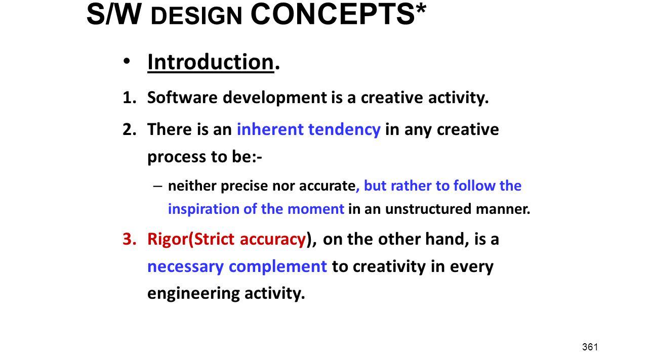 S/W DESIGN CONCEPTS* Introduction.