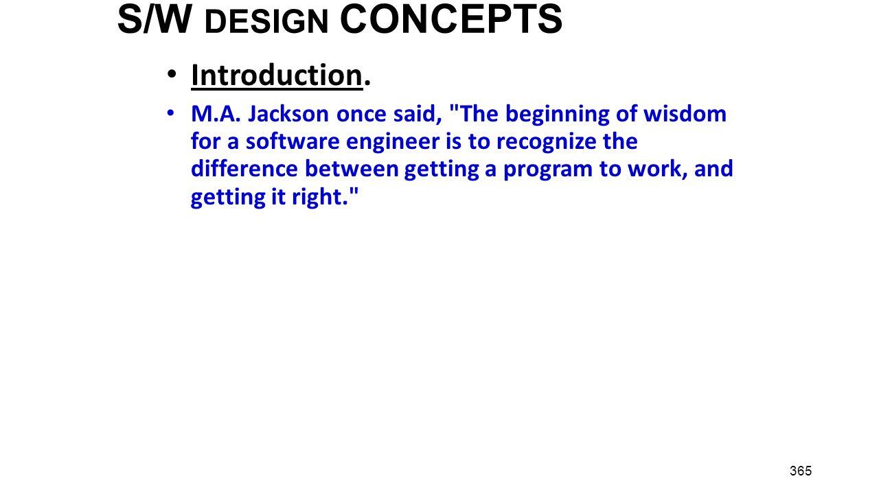 S/W DESIGN CONCEPTS Introduction.