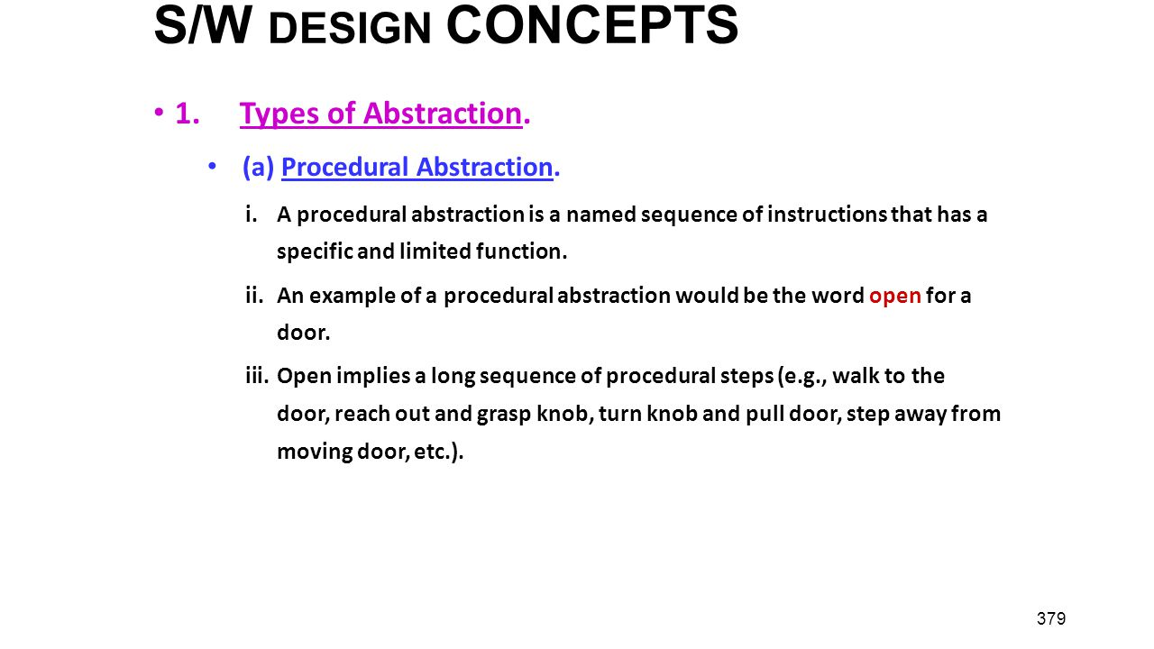 S/W DESIGN CONCEPTS 1. Types of Abstraction.