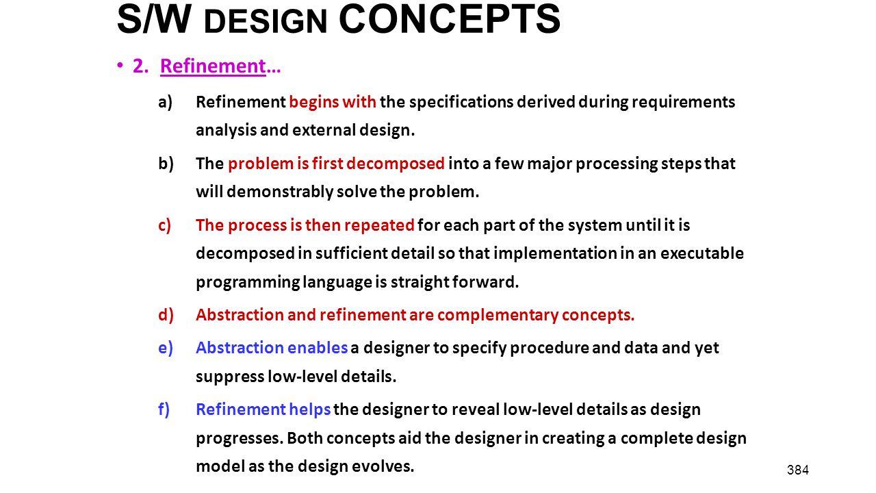 S/W DESIGN CONCEPTS 2. Refinement…