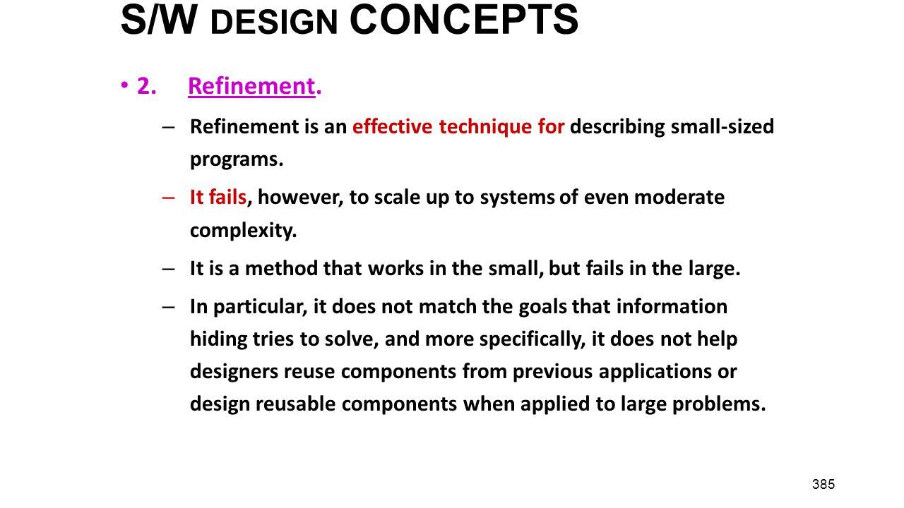 S/W DESIGN CONCEPTS 2. Refinement.
