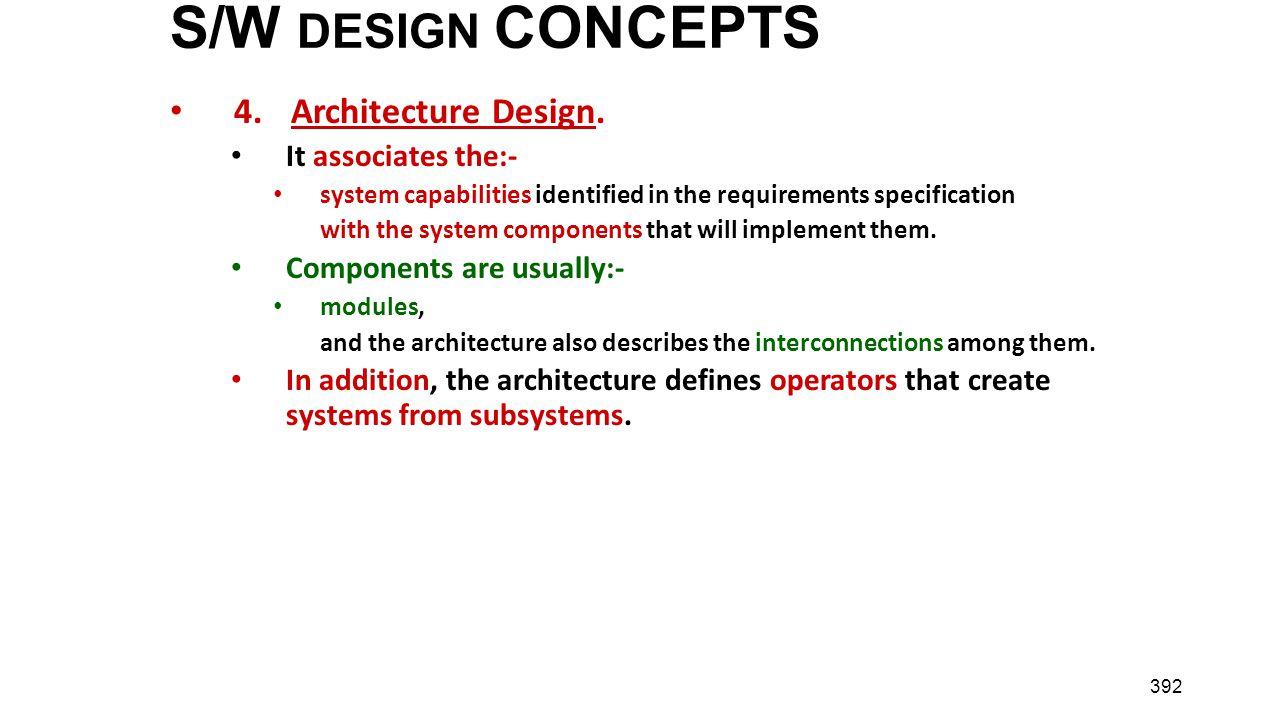 S/W DESIGN CONCEPTS 4. Architecture Design. It associates the:-