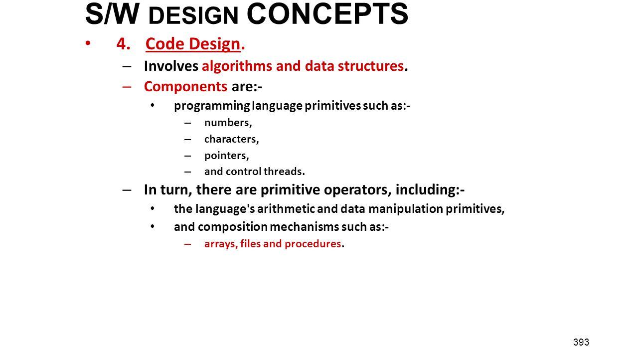 S/W DESIGN CONCEPTS 4. Code Design.