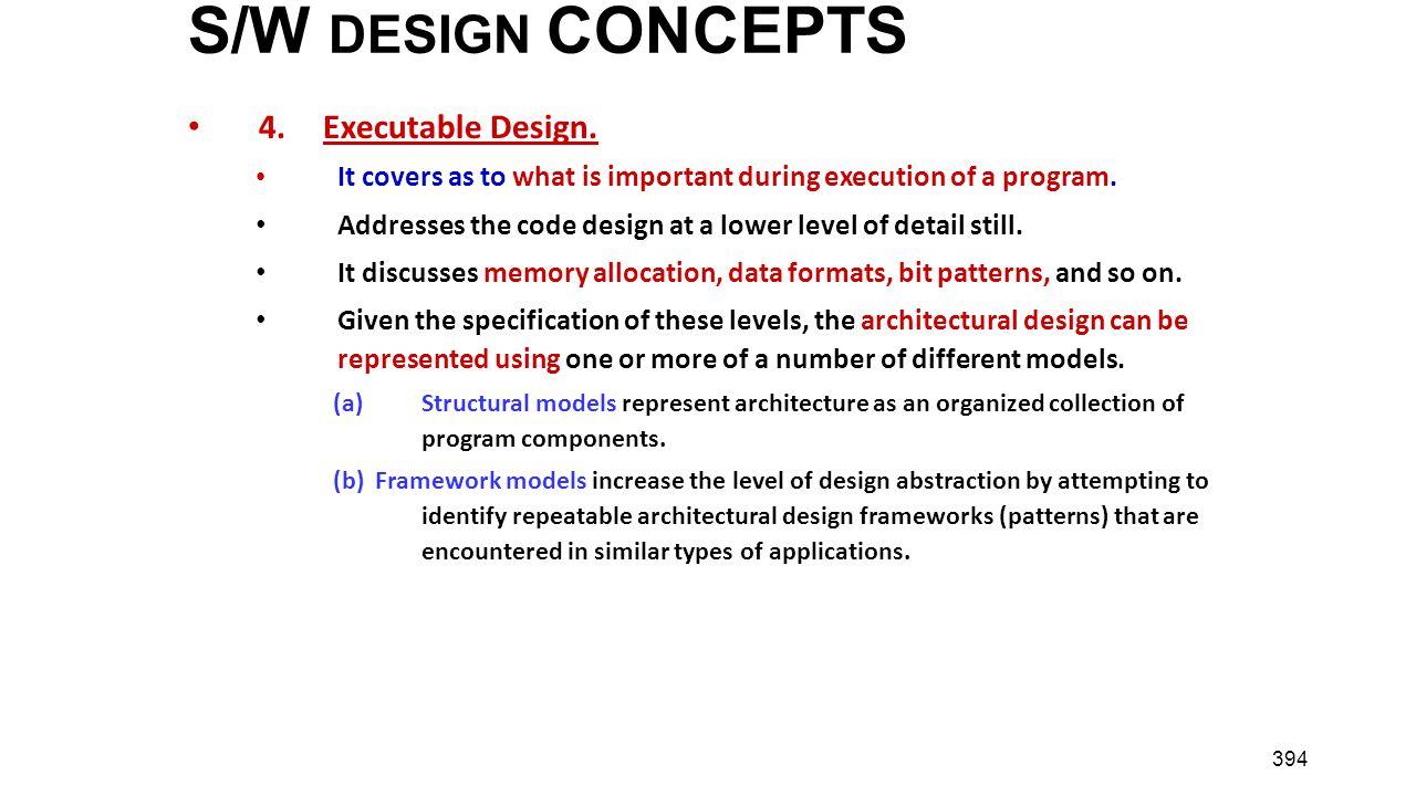 S/W DESIGN CONCEPTS 4. Executable Design.