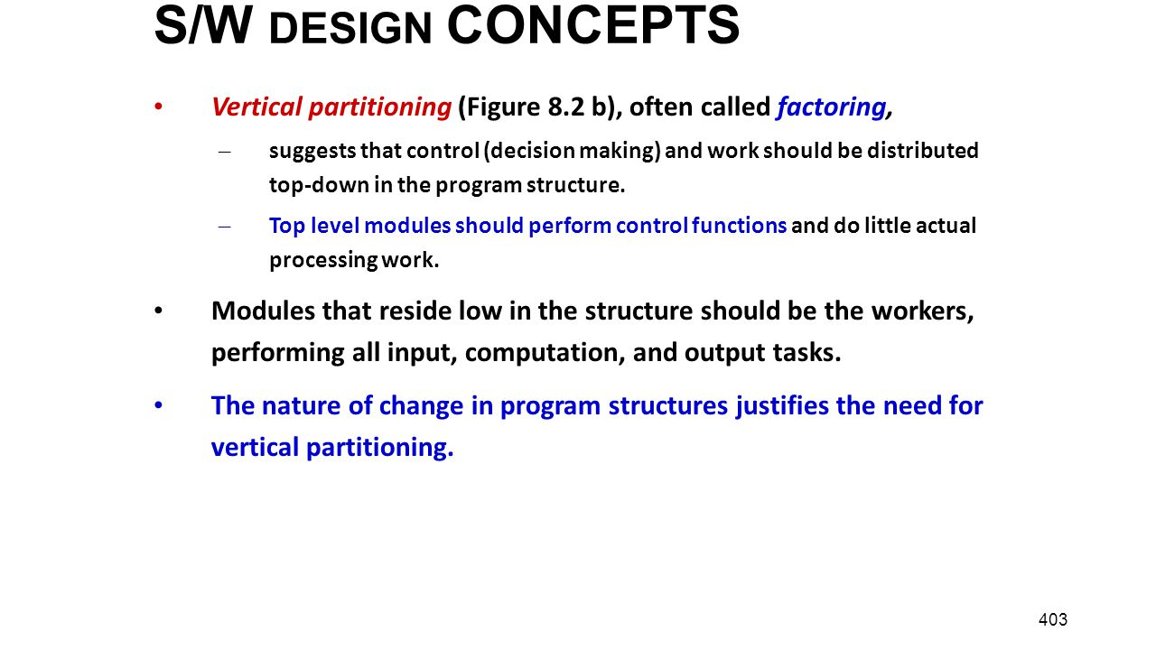 S/W DESIGN CONCEPTS Vertical partitioning (Figure 8.2 b), often called factoring,