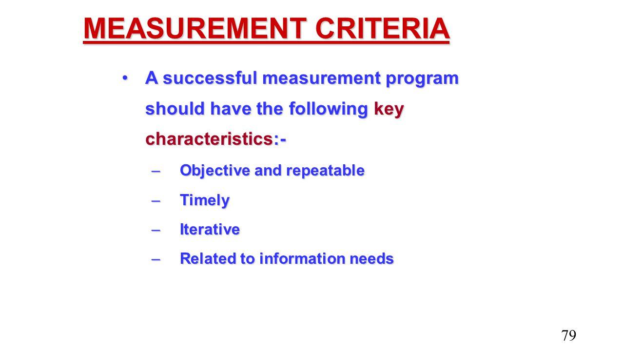 MEASUREMENT CRITERIA A successful measurement program should have the following key characteristics:-