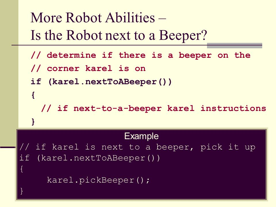 More Robot Abilities – Is the Robot next to a Beeper