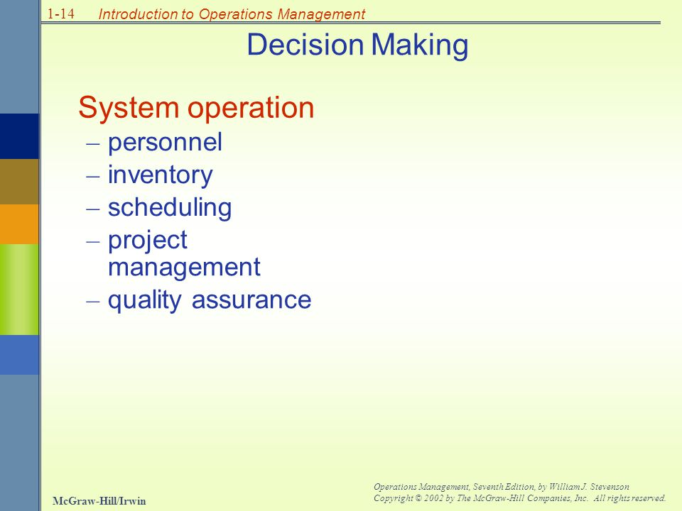 Decision Making System operation – personnel inventory scheduling