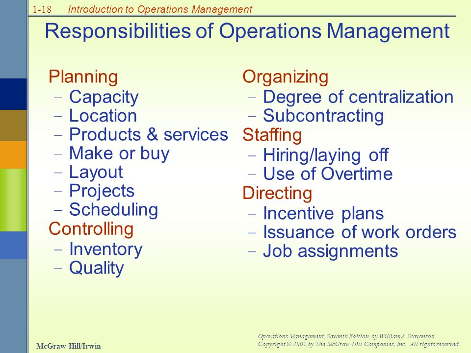Responsibilities of Operations Management