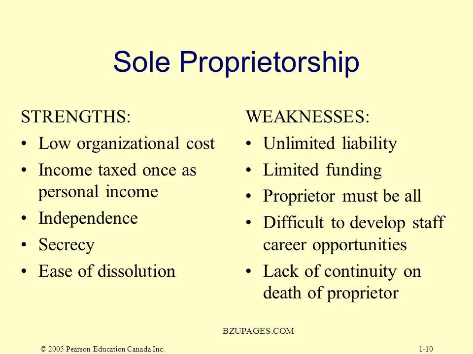 Sole Proprietorship STRENGTHS: Low organizational cost