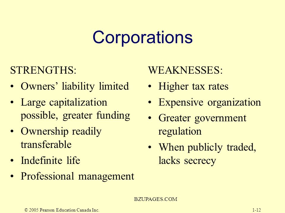 Corporations STRENGTHS: Owners' liability limited