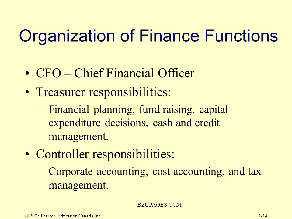 Organization of Finance Functions