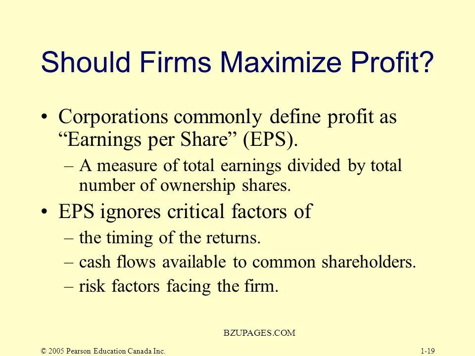 Should Firms Maximize Profit