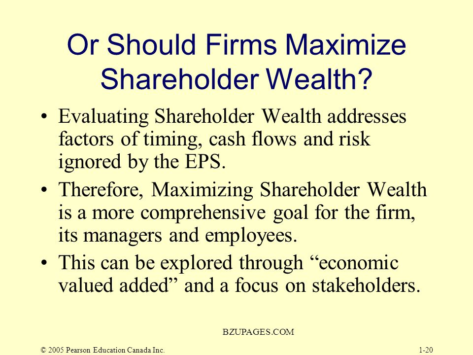 Or Should Firms Maximize Shareholder Wealth