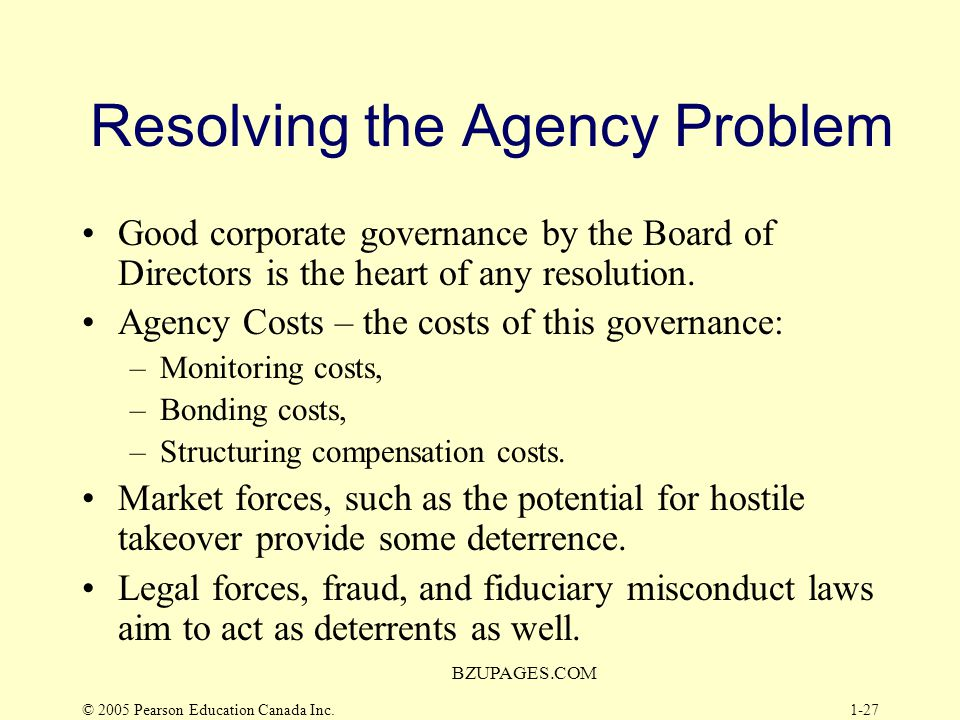 Resolving the Agency Problem
