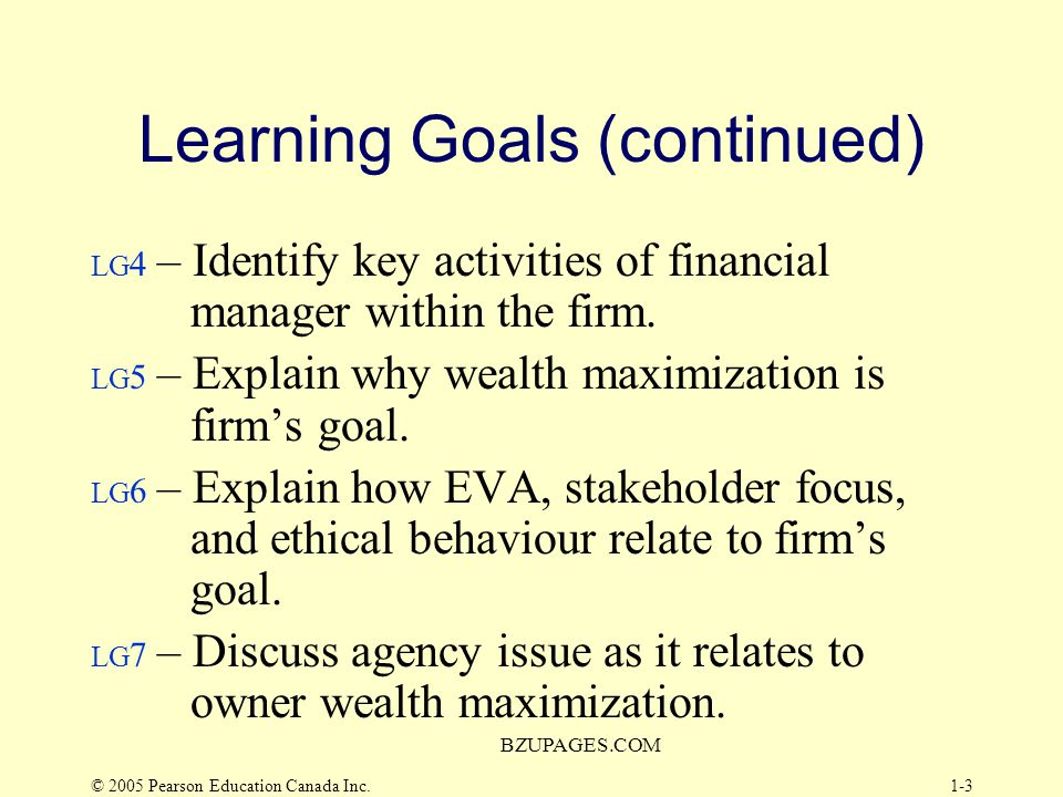 Learning Goals (continued)
