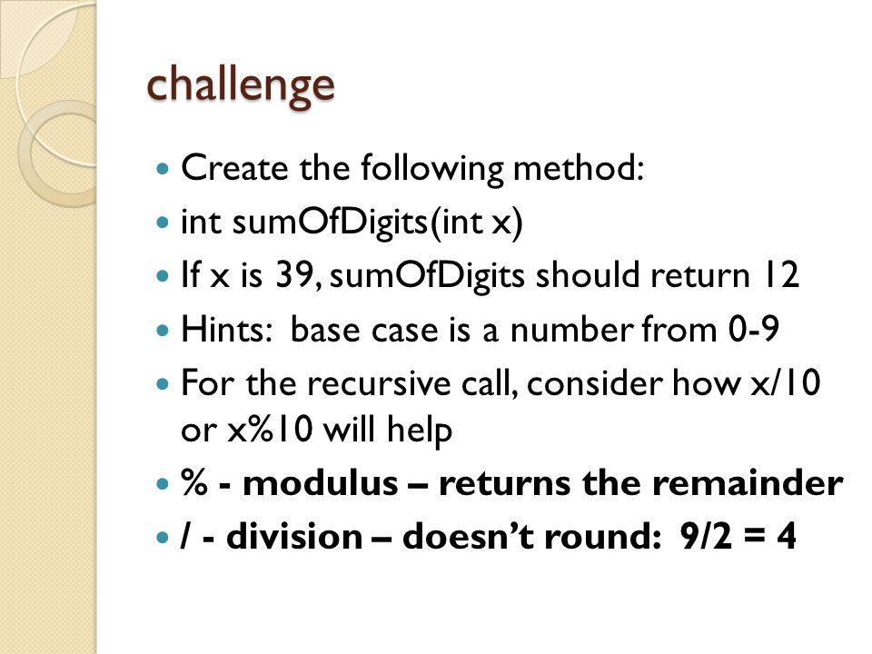 challenge Create the following method: int sumOfDigits(int x)