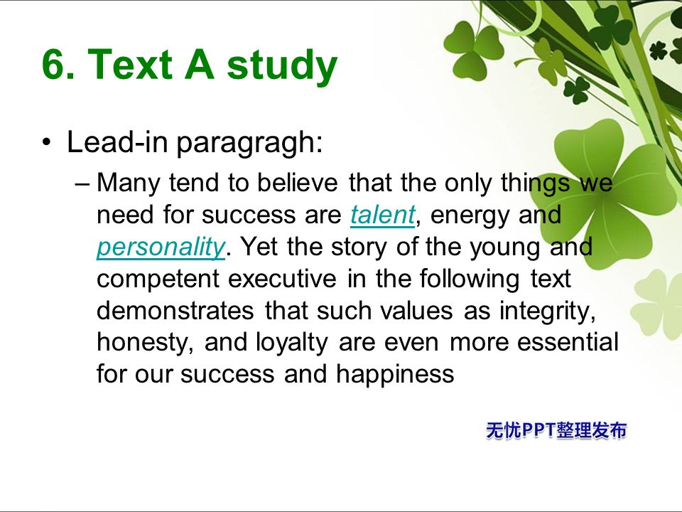 6. Text A study Lead-in paragragh:
