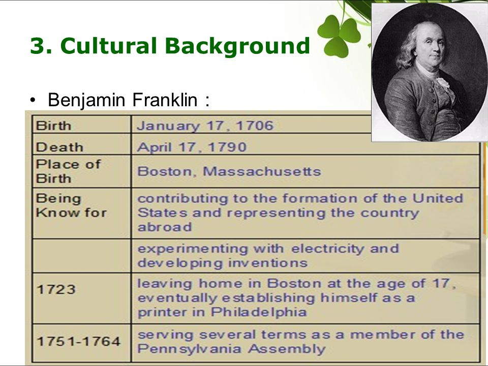 3. Cultural Background Benjamin Franklin: