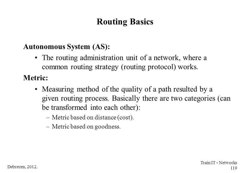Routing Basics Autonomous System (AS):