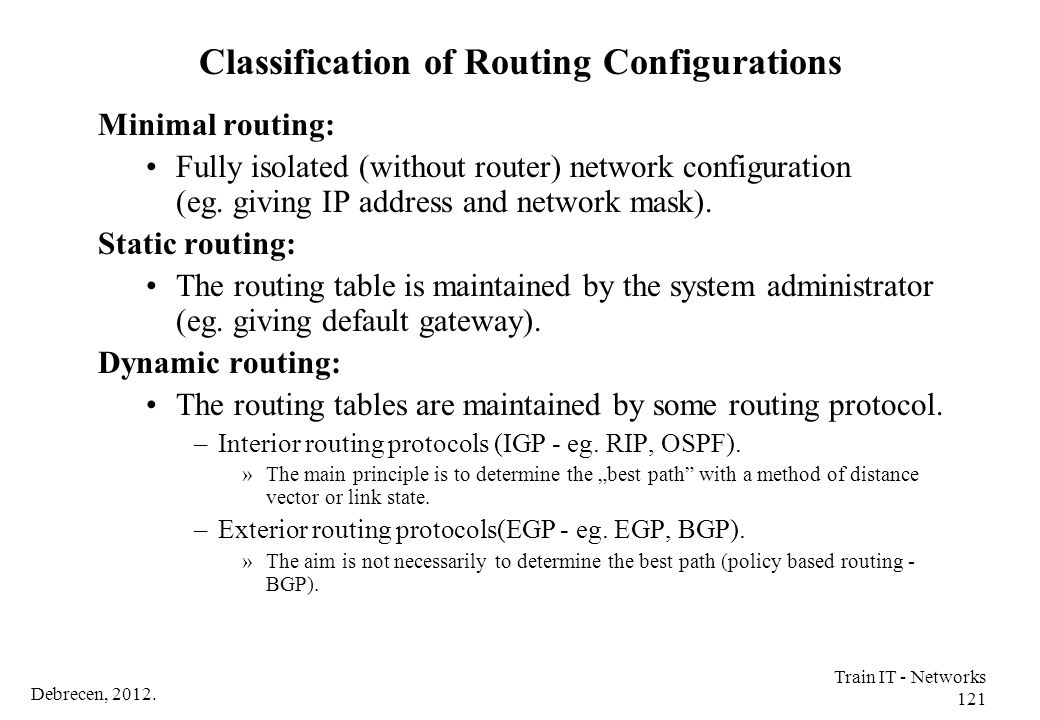 Classification of Routing Configurations