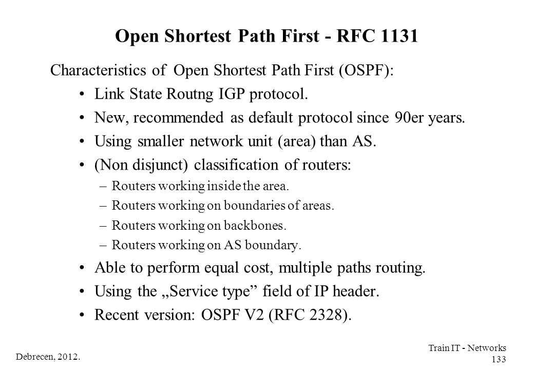 Open Shortest Path First - RFC 1131
