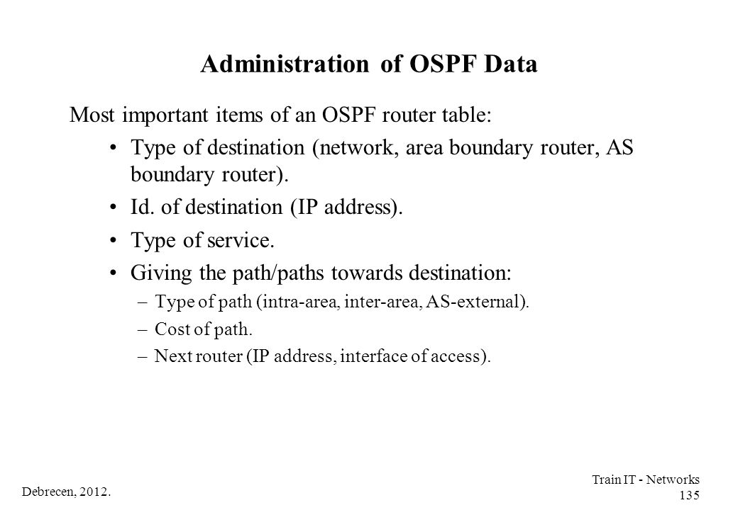 Administration of OSPF Data
