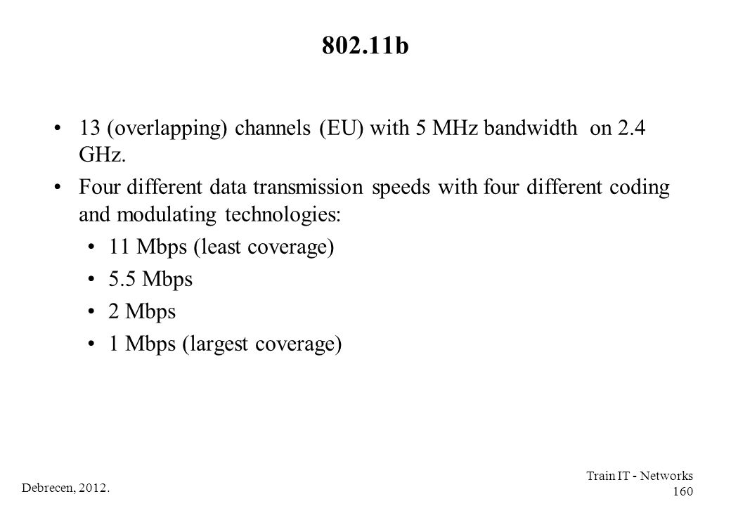 802.11b 13 (overlapping) channels (EU) with 5 MHz bandwidth on 2.4 GHz.