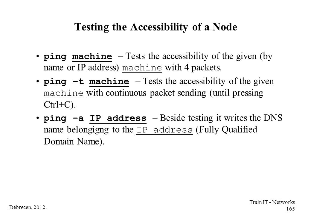 Testing the Accessibility of a Node
