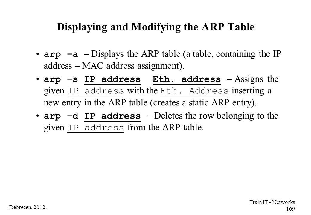 Displaying and Modifying the ARP Table